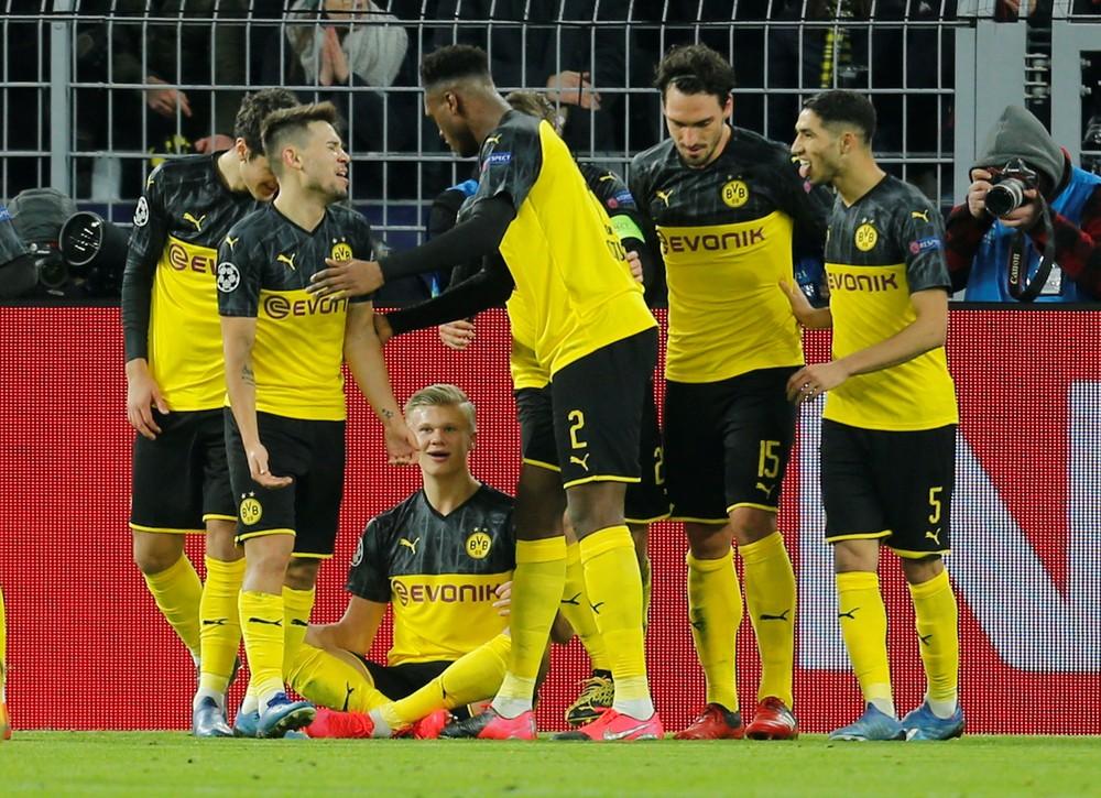 Borussia Dortmund de Haaland foi eliminado pelo PSG da Liga dos Campeões — Foto: Leon Kuegeler/Reuters