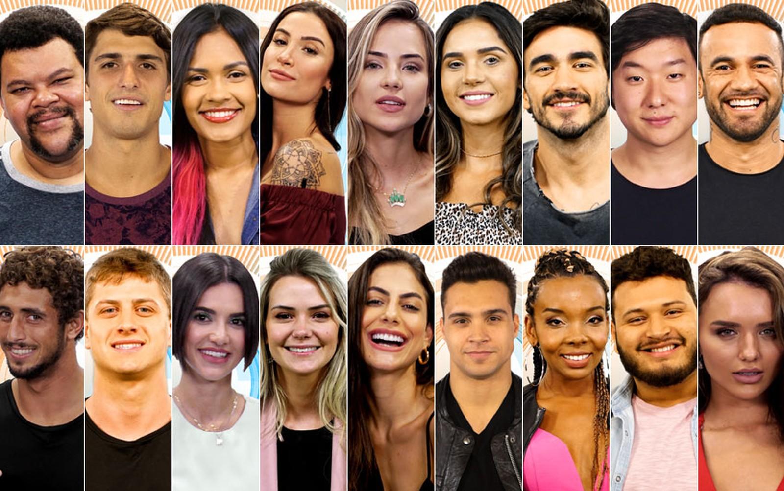 Os 18 participantes do BBB20, anunciados no sábado (18) — Foto: Divulgação/Globo