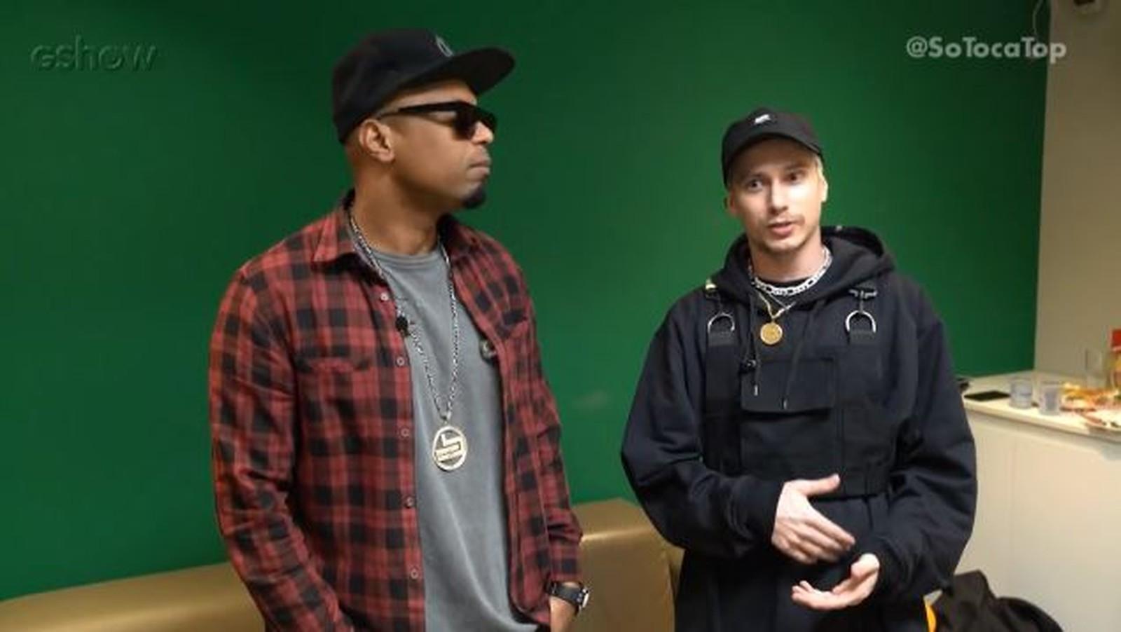 Buchecha e PK conversaram com o Gshow nos bastidores do 'SóTocaTop' — Foto: Gshow