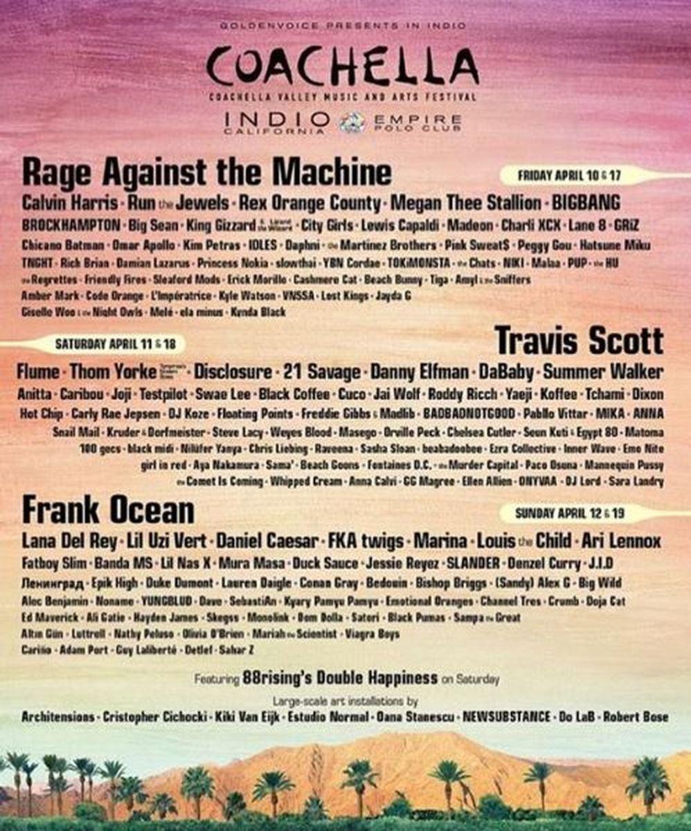 Cartaz com as atrações do Coachella — Foto: Reprodução/ Instagram