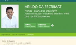 TSE: Arildo da Escrimat tem candidatura indeferida