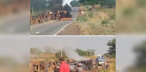 Carreta tomba e colide com veículo em estrada no Pará