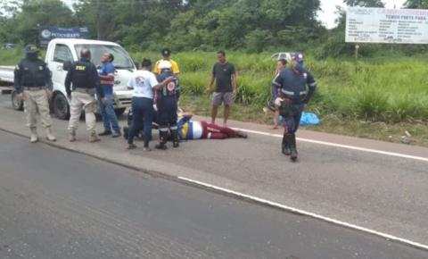 Acidente: motociclista ferido e trânsito lento na BR-316