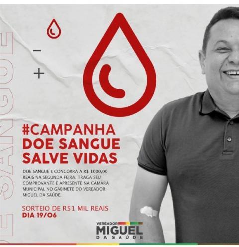 Canaã dos Carajás: vereador vai sortear R$ 1 mil entre pessoas que doarem sangue